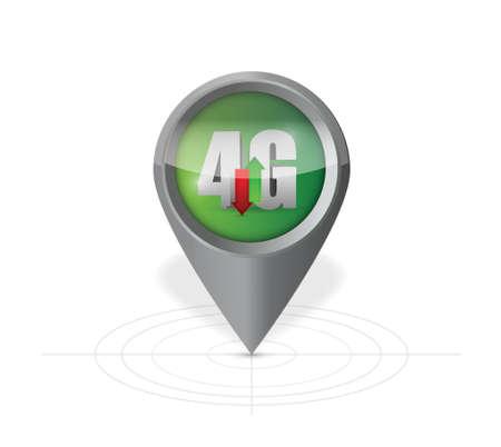 4g pointer locator illustration design over a white background