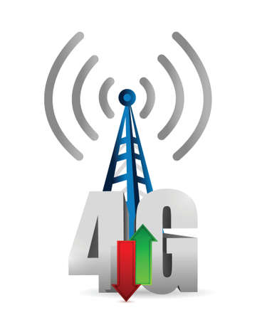4g tower connection illustration design over a white background Illustration
