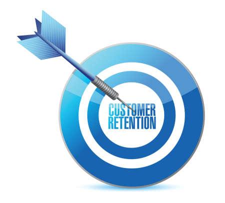 Diseño de ilustración de objetivo de retención de clientes sobre blanco Ilustración de vector