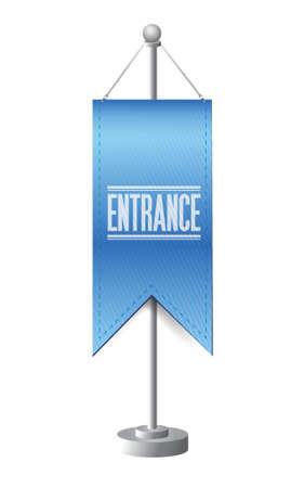 entrance standing banner sign illustration design over white