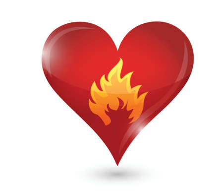 red love heart with flames: ardiente pasi�n. coraz�n y llamas. ilustraci�n, dise�o en blanco