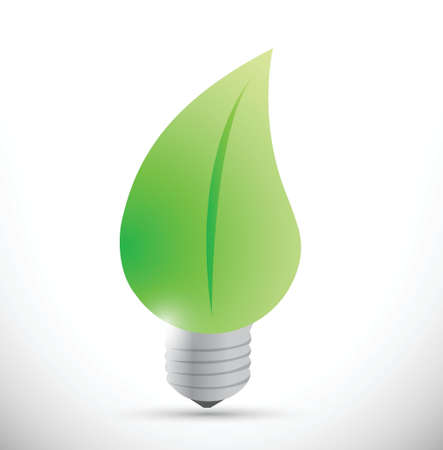 nature leave light bulb. eco lightbulb illustration design over white Иллюстрация