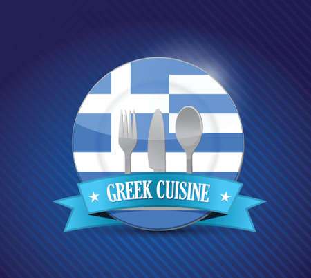 greek flag: greek food restaurant concept illustration design graphic