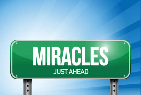 word of god: miracles road sign illustration design over a sky background