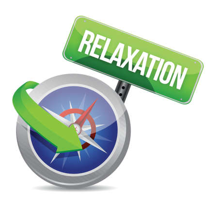 compass pointing to relaxation. illustration design over white
