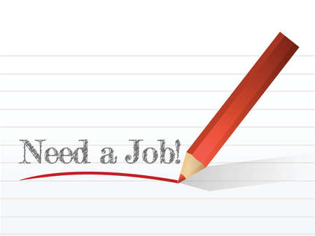 need a job sign written on a notepaper Ilustração