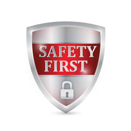 safety first shield illustration design over white Иллюстрация