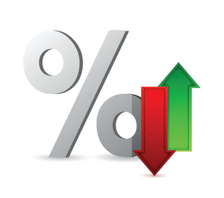 profit and loss: percentages up and down illustration design over white