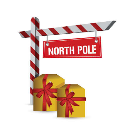 north pole sign: north pole gifts sign illustration design over a white background Illustration