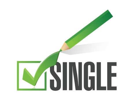 unmarried: seleccionado solo con marca de verificaci�n. ilustraci�n, dise�o en blanco Vectores
