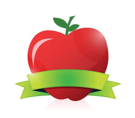 apple border: apple and green ribbon illustration design over a white background Illustration