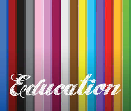 color pencils and the word education on top. illustration design Vector