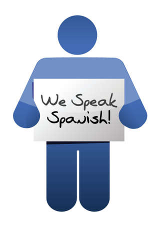 icon holding a we speak spanish sign. illustration design over white Vector
