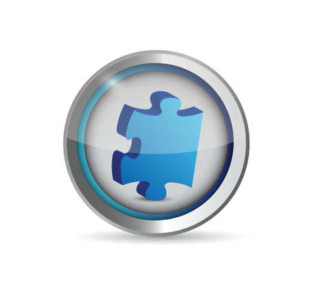 art piece: missing puzzle piece button. illustration design over white