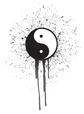 metaphysic: ying yang ink illustration design over a white background