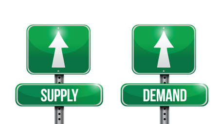 on demand: supply and demand road sign illustrations design over white