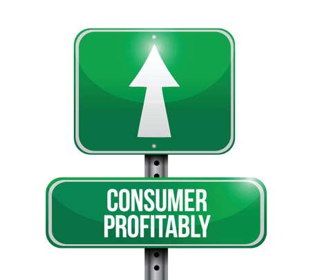 profitability: consumer profitability road sign illustrations design over white