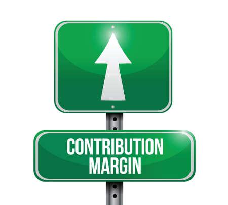 margin: contribution margin road sign illustrations design over white Illustration