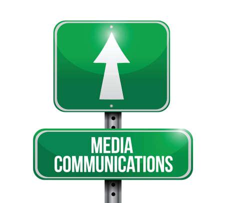 medica: media communications road sign illustrations design over white