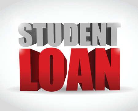 白い背景の上の学生ローン記号イラスト デザイン