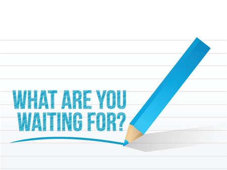 何を待っているメッセージ イラスト デザイン白  イラスト・ベクター素材