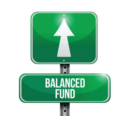 balanced: balanced fund road sign illustrations design over white