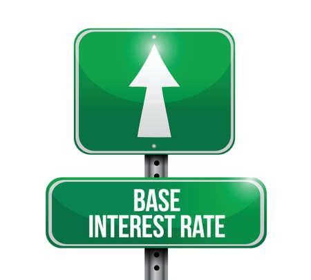 white interest rate: base interest rate road sign illustrations design over white Illustration