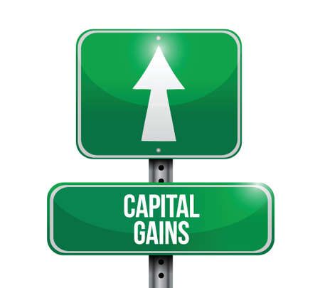 financial gains: capital gains road sign illustrations design over white