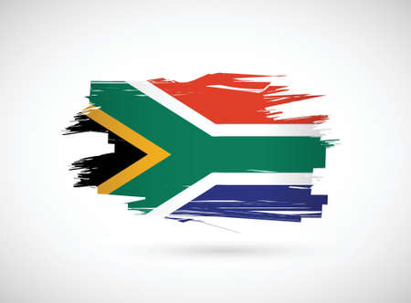 le cap: sudáfrica tinta cepillo bandera ilustración, diseño gráfico