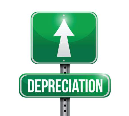 depreciation: depreciation road sign illustration design over white