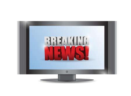 news update: breaking news sign on a tv. illustration design over white