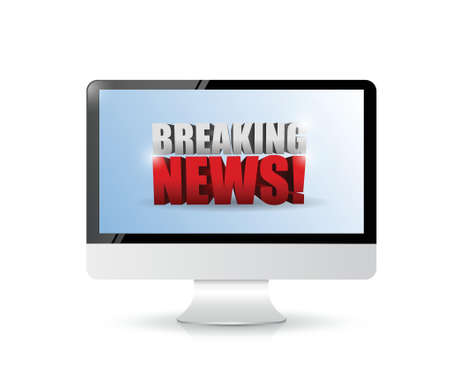 news update: breaking news sign on a computer. illustration design over white