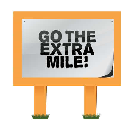 mile: go the extra mile wood sign illustration design over white