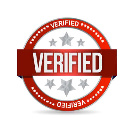 acceptation: verified seal stamp illustration over a white background