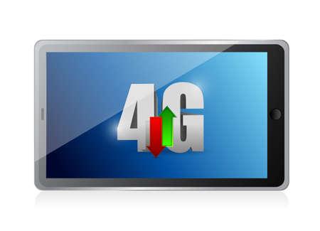 4 g の接続をタブレットします。白色の背景上のイラスト デザイン 写真素材
