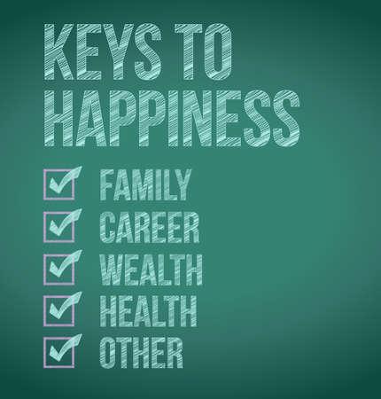 keys to happiness illustration design over a blackboard Banque d'images