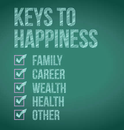keys to happiness illustration design over a blackboard illustration
