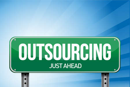 outsourcing road sign illustration design over a white background Stock Photo - 21081834