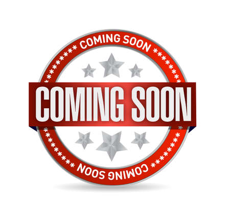 office product: coming soon seal stamp illustration design over a white background Stock Photo