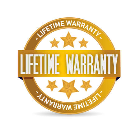 lifetime warranty seal stamp illustration design over a white background