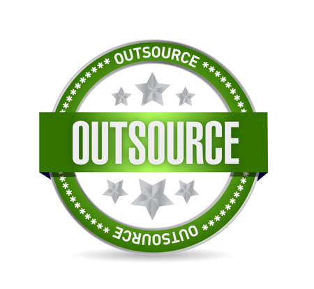 proved: outsource seal stamp illustration design over a white background