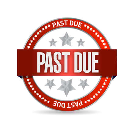 past due seal stamp illustration design over a white background