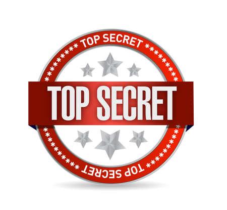 top secret seal stamp illustration design over a white background Stock Illustration - 21082002