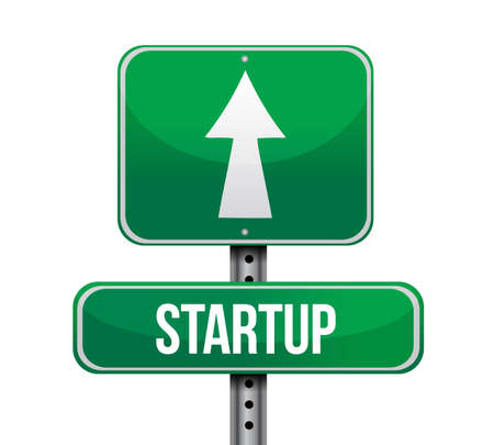 signboard: startup road sign illustration design over a white background Stock Photo