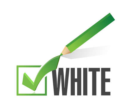 yes check mark: race selection. pick white. illustration design over a white background