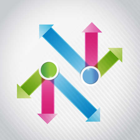 onward: blue, pink and green, arrow infographics illustration design over white