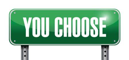 you choose road sign illustration design over white Stock Illustration - 21082101