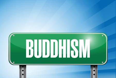 popular belief: buddhism religious road sign banner illustration design over a peaceful sky