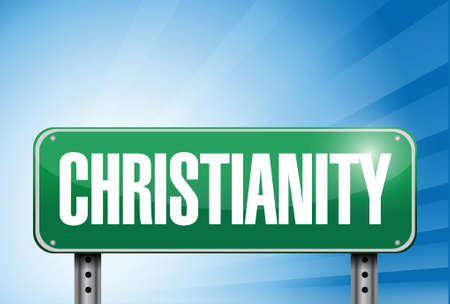 popular belief: christianity religious road sign banner illustration design over a peaceful sky
