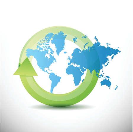 sustentabilidad: mapa del mundo ciclo de diseño de la ilustración en blanco Vectores